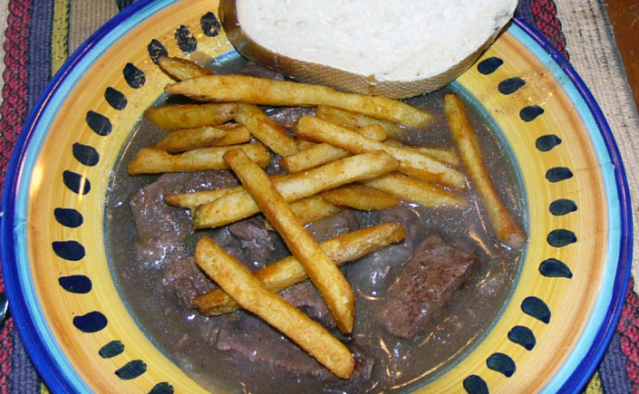 African Craved Beef Stew with Fries and Crusty Bread