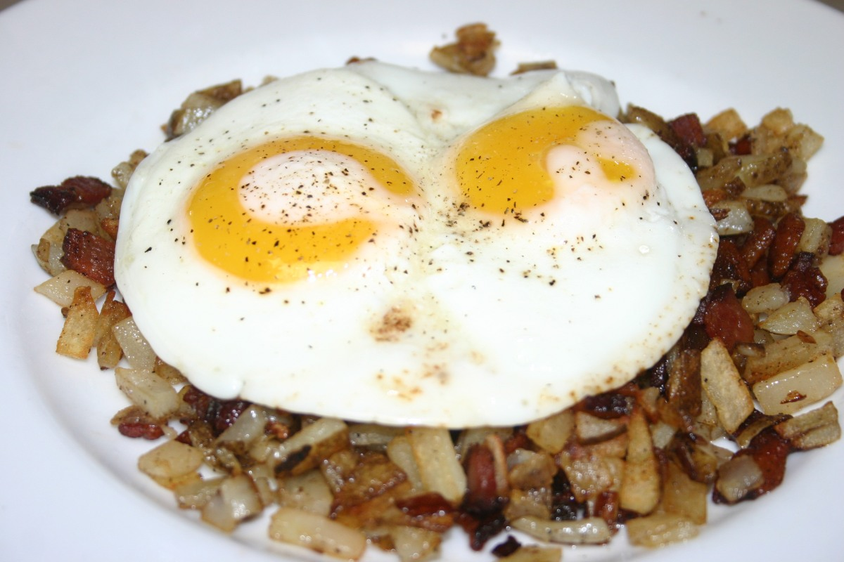 Bacon and Onion Hash with FriedEggs