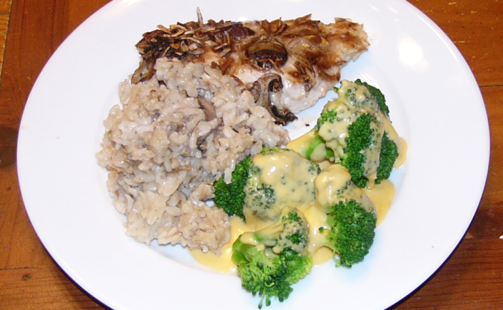 Baked Chicken Breasts with Mushroom Rice & Broccoli in a Cheese Sauce