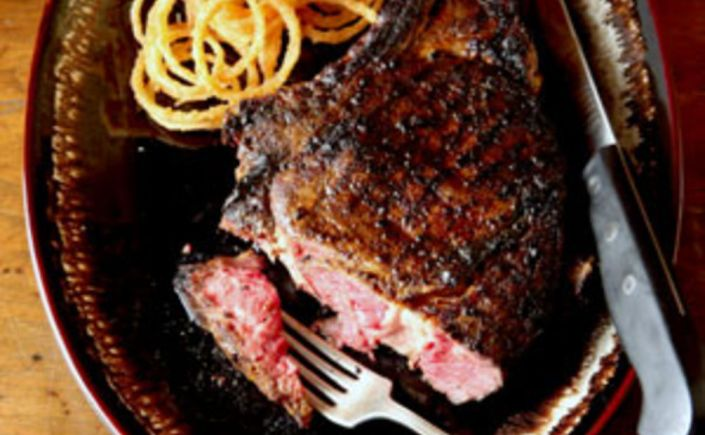 Smokin' Cowboy Rib-Eye Steak with Spicy OnionRings
