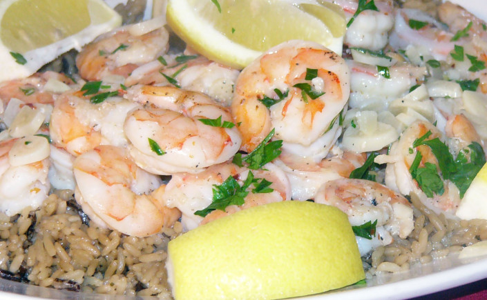 Sizzling Chili-Garlic Shrimp on a Bed ofRice