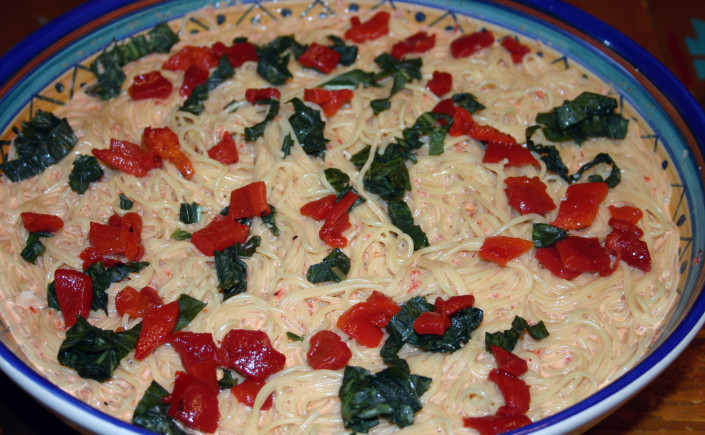 Capelli d'angelo with Creamy Roasted PepperSauce