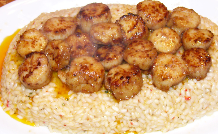 Cajun Sea Scallops over New Orleans Style Risotto