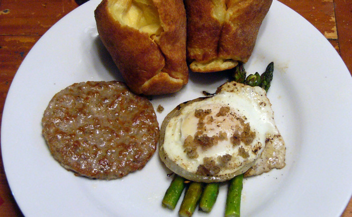 Egg Asparagus Milanese with FrenchPopovers