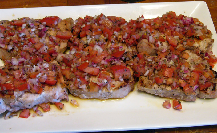 Cuocere Stile Italiano – Grilled Pork Chops with Italian Relish