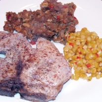 pork-pork-chops-with-ancho-chile-cornbread-stuffing-mexican-style-corn-12-17-2012