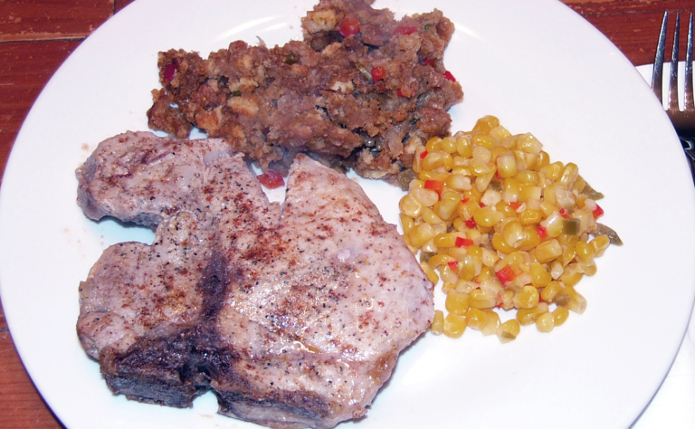 Mexican Pork Chops with Ancho Chile Cornbread Stuffing