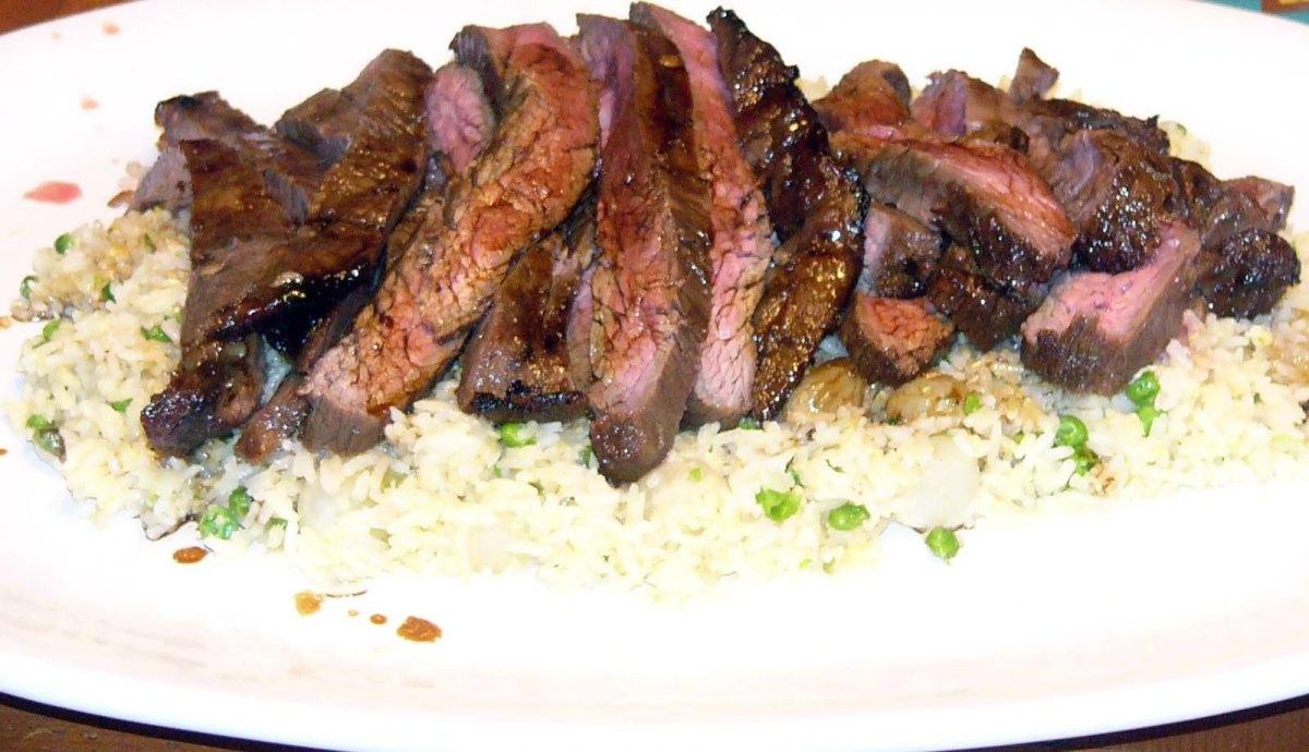 Teriyaki Flank Steak Over Vegetable FriedRice