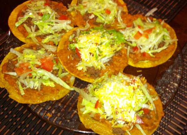 Spicy Beef and Chorizo Tostadas on a Crisp FriedShell