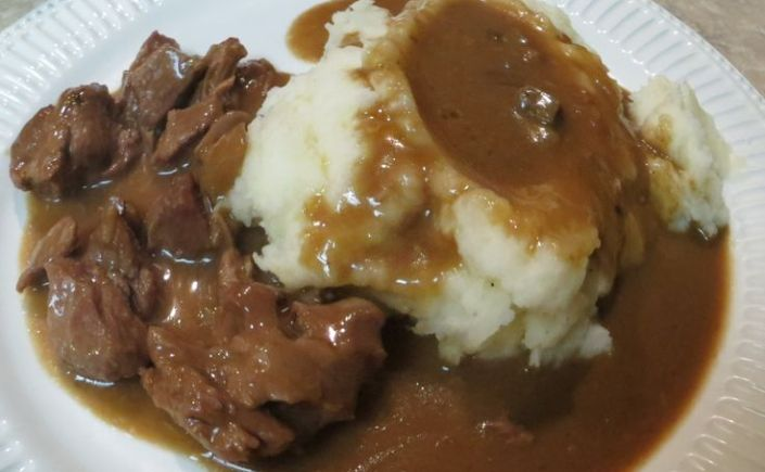 French Beer Beef Stew over MashedPotatoes