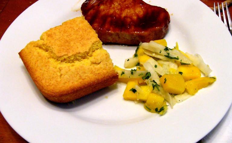 Chipotle-Orange Glazed Pork Chops with Mango-JicamaSalad