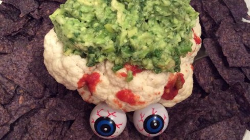 Halloween Avocado Brain Dip with eyes
