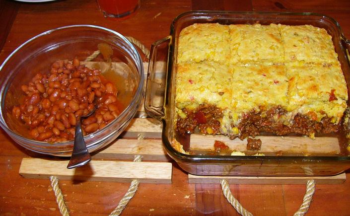 Cornbread Taco Bake with Spicy PintoBeans