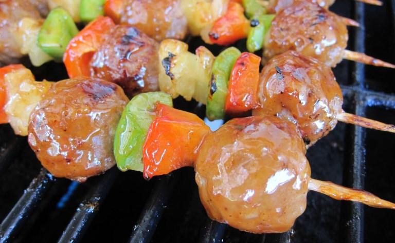 Aidells Pineapple Teriyaki Chicken MeatballKabobs