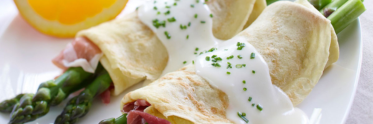 Asparagus, Prosciutto and Goat Cheese Crepes