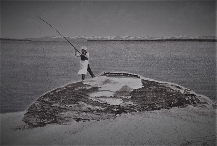 "Postcard (#138) of ""Hot Spring Cone"" (Fishing Cone), Yellowstone Lake; Frank J Haynes; No date"