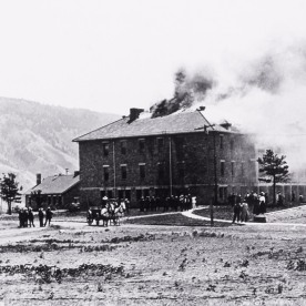 Double Barracks fire, Fort Yellowstone; Photographer unknown; Around 1910