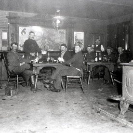 Men in post exchange at Fort Yellowstone; Photographer unknown; No date