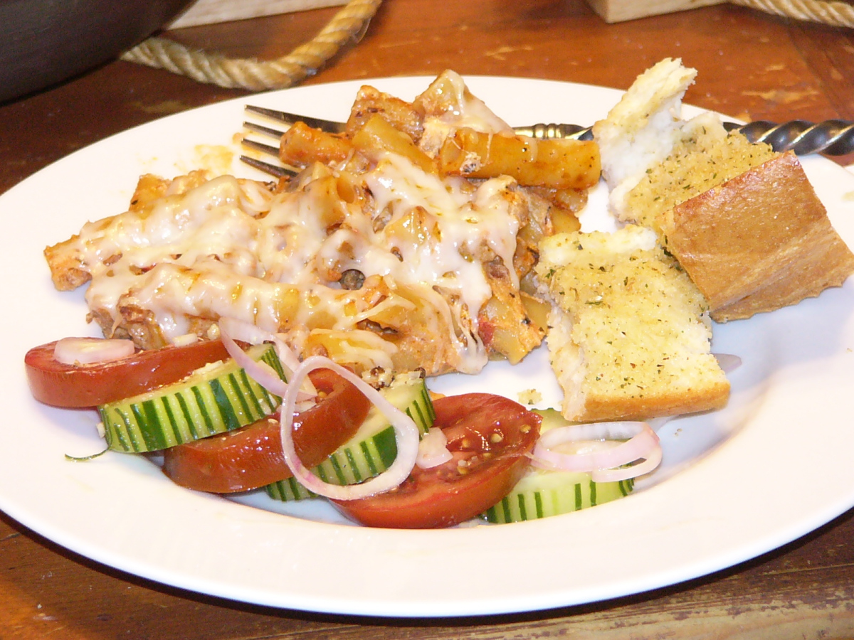One-Skillet Ziti Bake with Cucumber Salad and Warm Bread