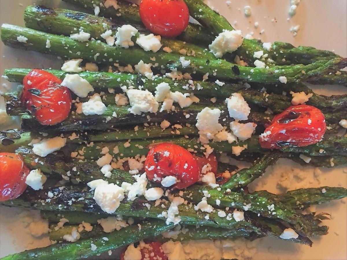Roasted Asparagus with Bursting Tomatoes andFeta