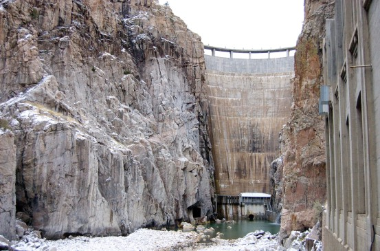 Buffalo Bill Dam as seen from the Shoshone Powerplant. Photo by Roger Otstot.