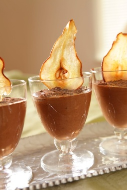 Chocolate Mouse with Pear Chips and Chocolate Leaves