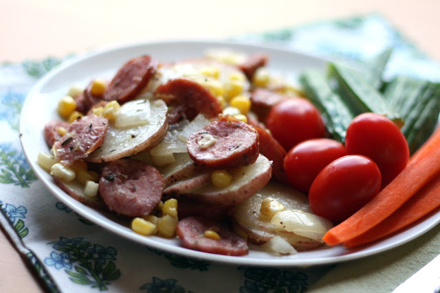 Kielbasa Sausage with Herbed Potatoes andCorn