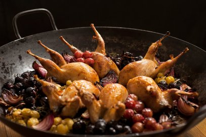 Roasted Quail with Grape Clusters