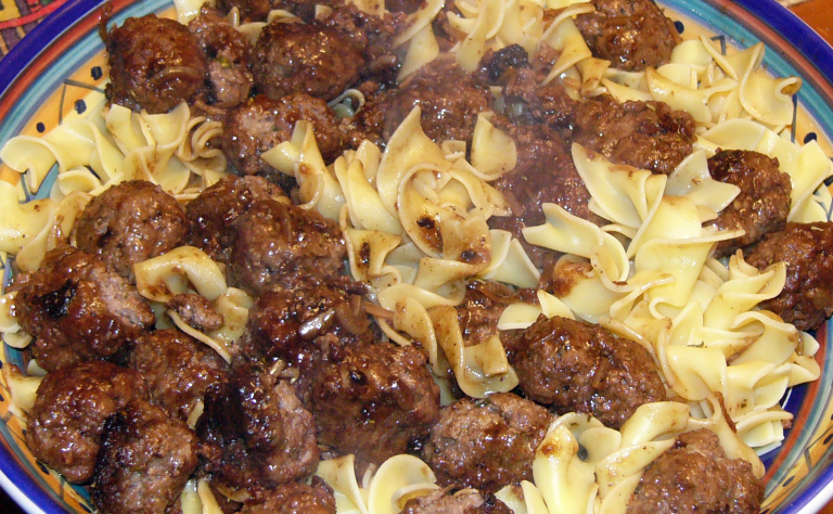 French Style Meatballs over EggNoodles