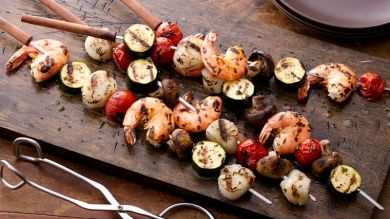 Grilled Shrimp, Scallops and Squash Skewers