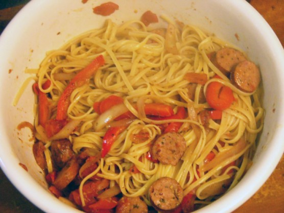 onions-peppers-and-sausage-over-linguine-3