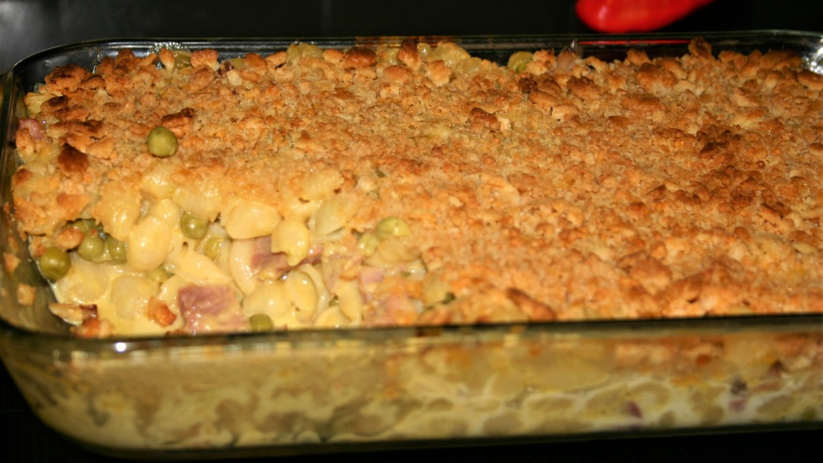 Putting on the Ritz (Mac and Cheese Ham Casserole)
