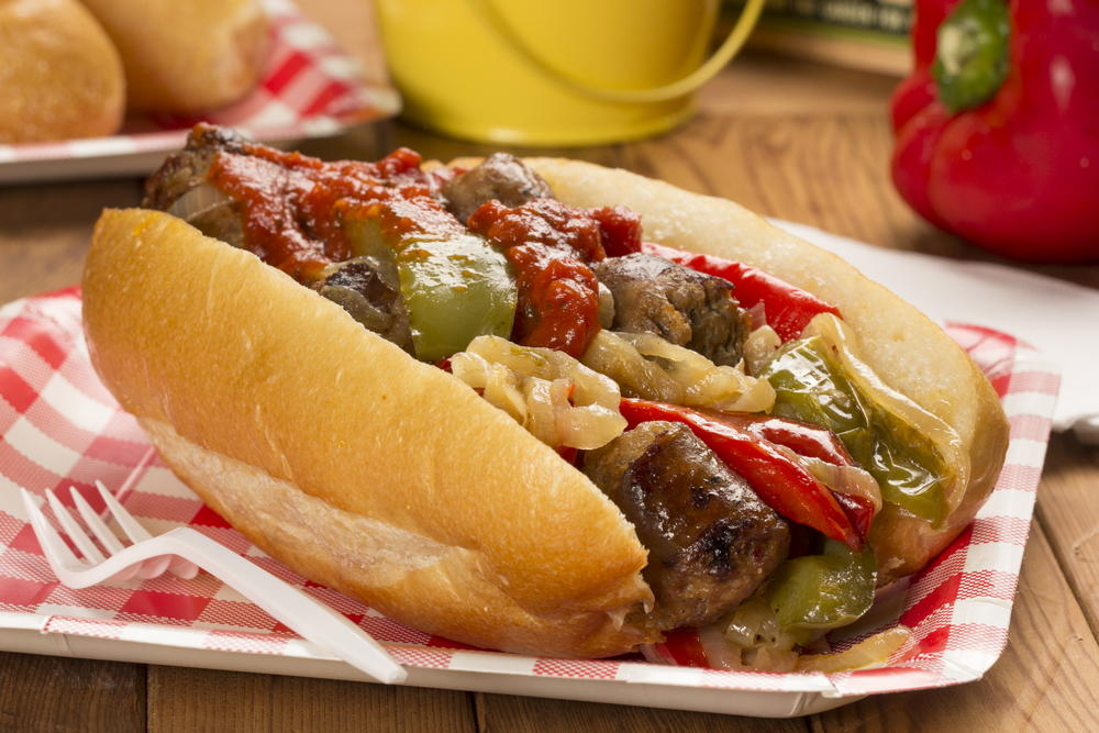 Grilled Polish Sausage with Sautéed Onions andPeppers