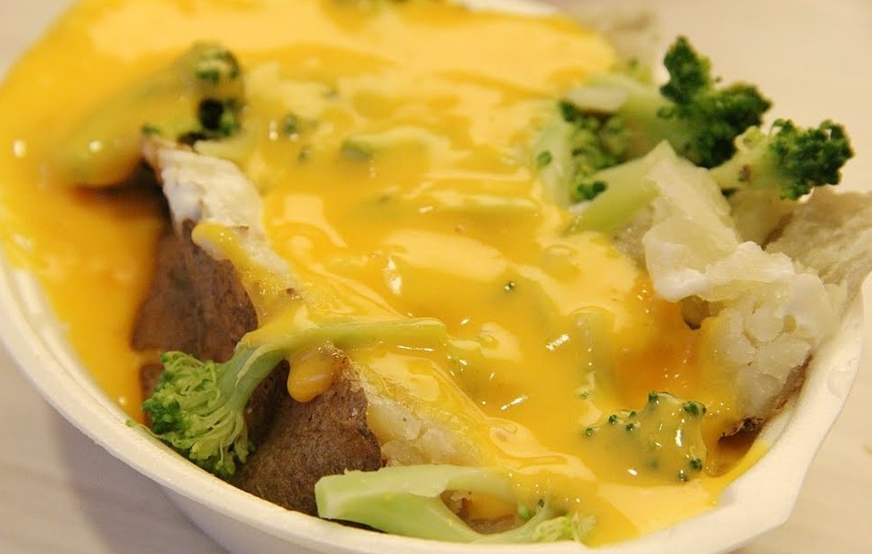 Broccoli and Cheez Whiz Baked Potato