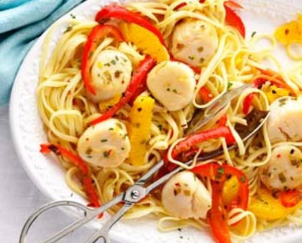 Citrus Kissed Scallops with Pepper Strips over Pasta