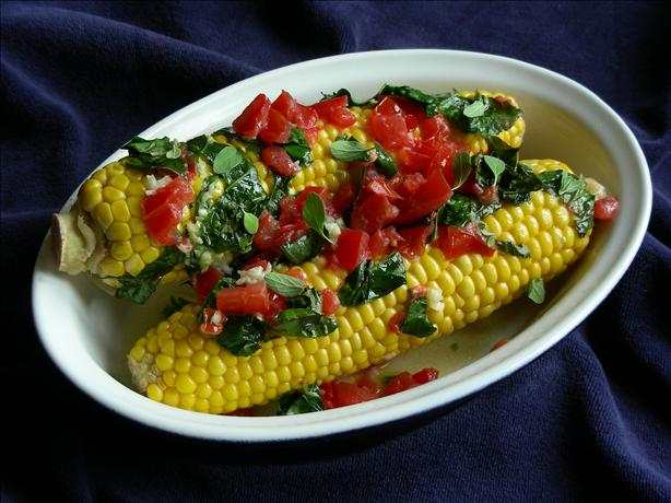 Grilled Corn On The Cob With Tomato-HerbSpread