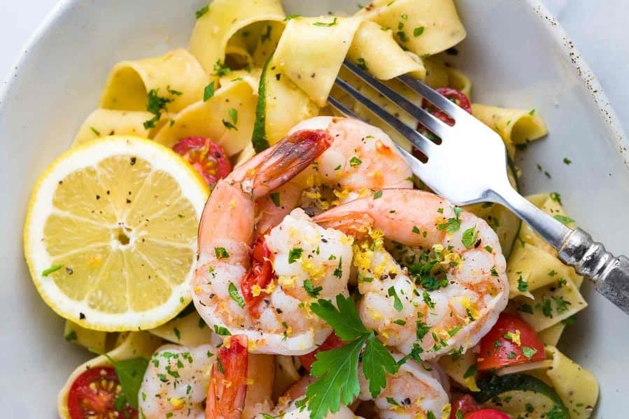 Ribbon Pasta with Shrimp and Lemon Garlic