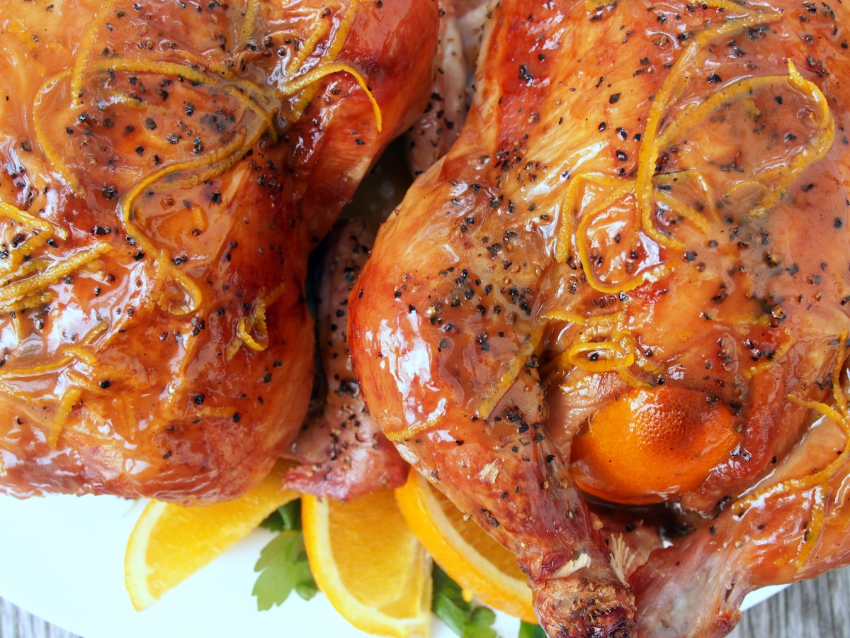 Roasted Game Hens with OrangeSauce