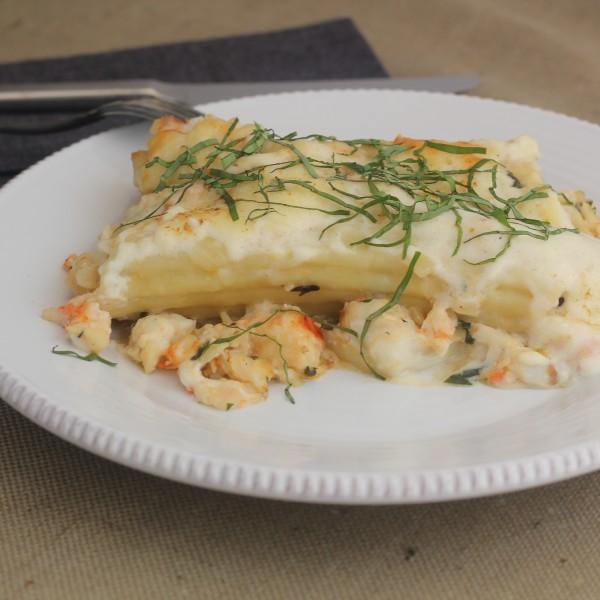 Lenten Season's New Orleans Seafood Manicotti with BéchamelSauce