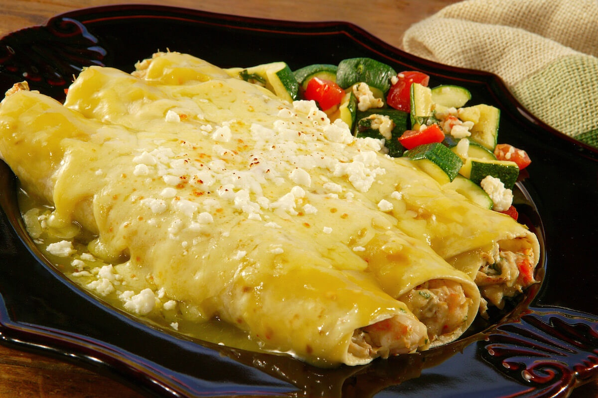 Seafood Enchiladas in a Green Sauce