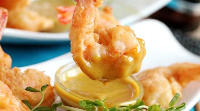 V-J Day's Tempura Shrimp with Honey Mustard DippingSauce