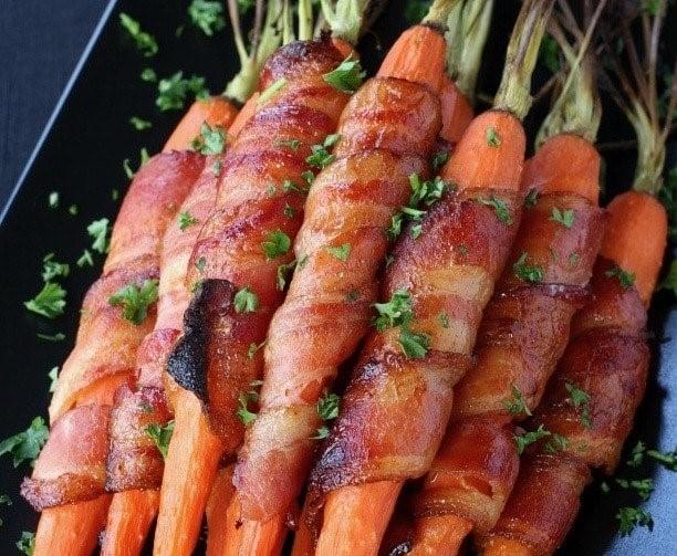 Bacon Wrapped Maple GlazedCarrots