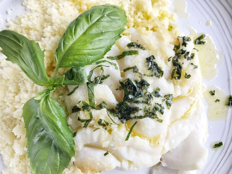 Buttery Baked Cod with Garlic Couscous