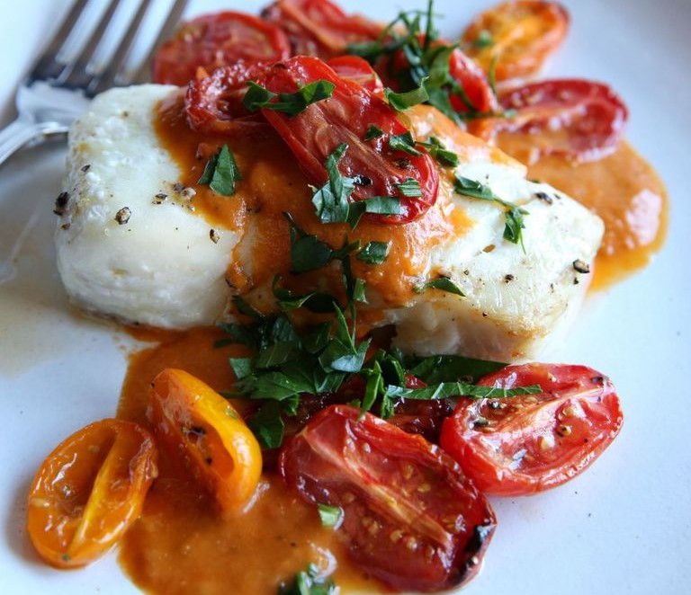Roasted Cod with Tomato CreamSauce