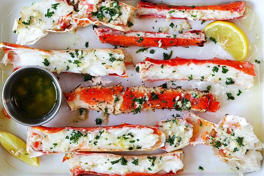 Baked Crab Legs Kissed with Garlic Lemon Butter