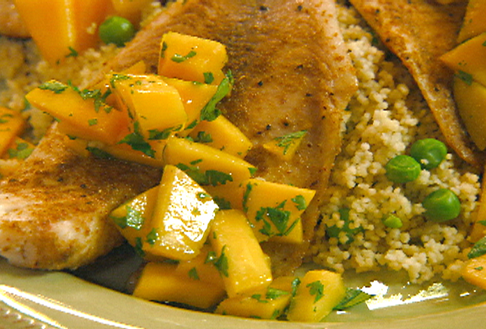Moroccan Seasoned Tilapia with Mango and Cilantro