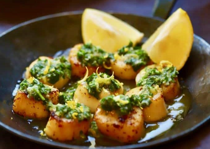 Mexican Inspired Pan Seared Salsa Verde Scallops
