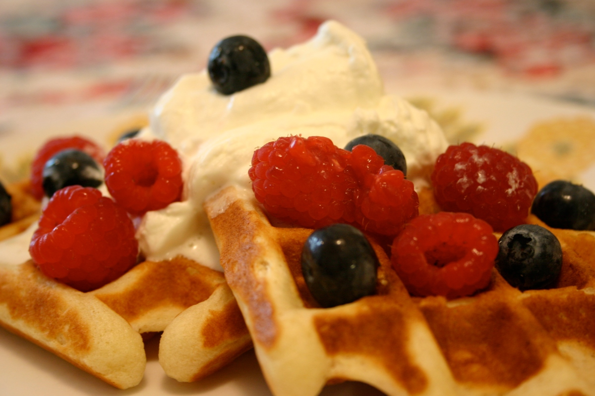 Annunciation Waffles with Whipped Cream and FreshBerries