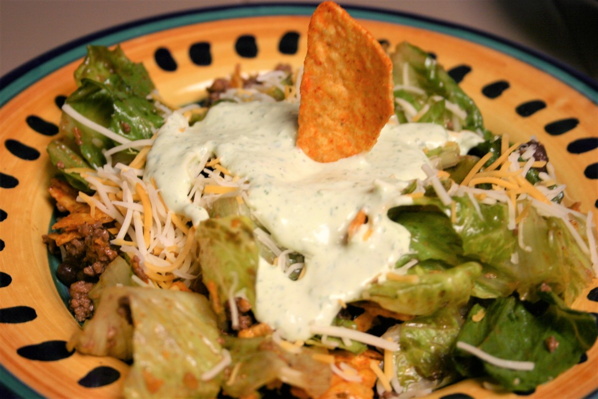 Dorito Taco Salad with Jalapeno RanchDressing
