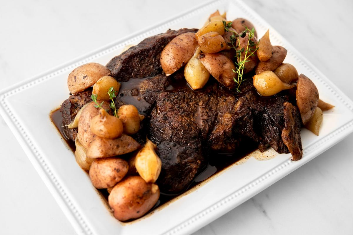 Balsamic Pot Roast with Pearl Onions and Red Potatoes